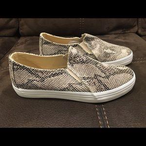 Faux snakeskin print, slip on sneakers, NWT